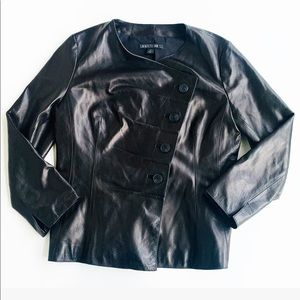 Lafayette 148 Black Leather Moto Jacket   SZ 8